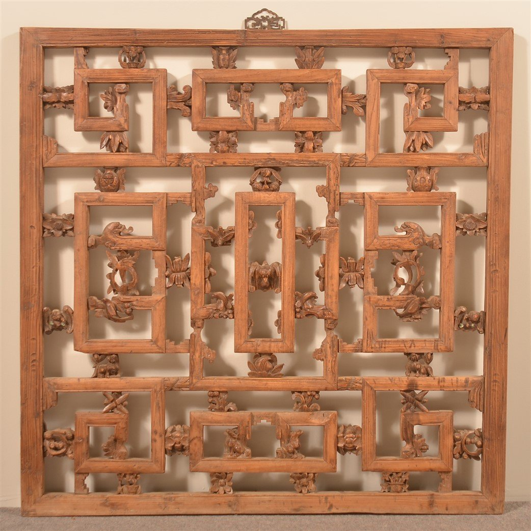 Antique Chinese Carved Camphor Wood Window.