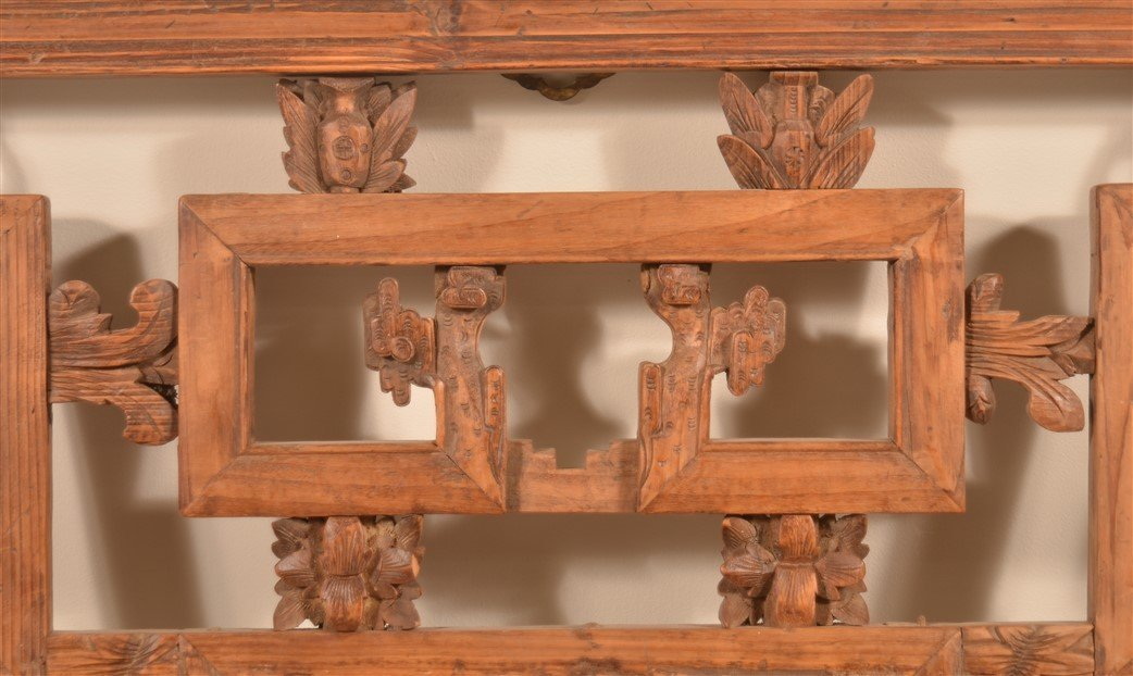 Antique Chinese Carved Camphor Wood Window. - 4