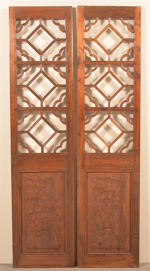 Pair of Vintage Chinese Cypress Wood Doors.