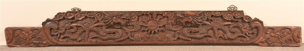 Chinese Carved Camphor Wood Headboard Crest.