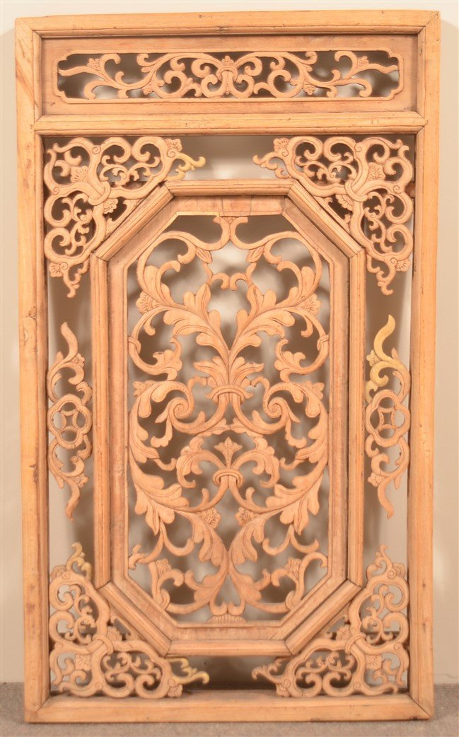 19th Century Chinese Carved Camphor Window.