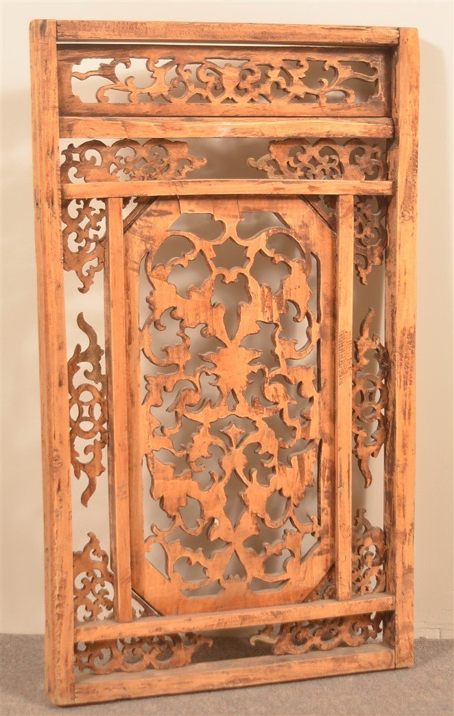 19th Century Chinese Carved Camphor Window. - 2