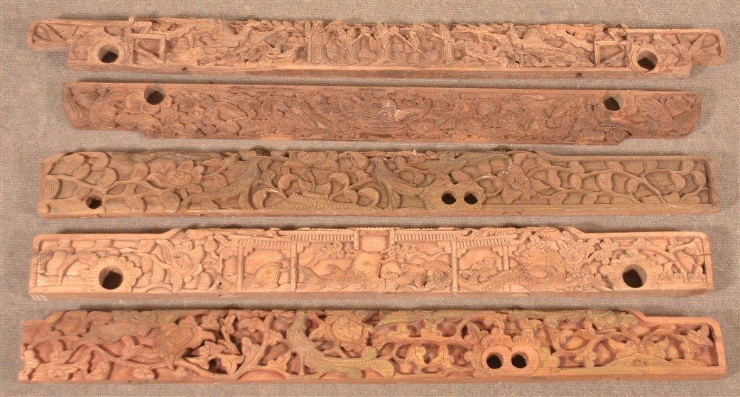 5 Antique Chinese Carved Architectural Elements.