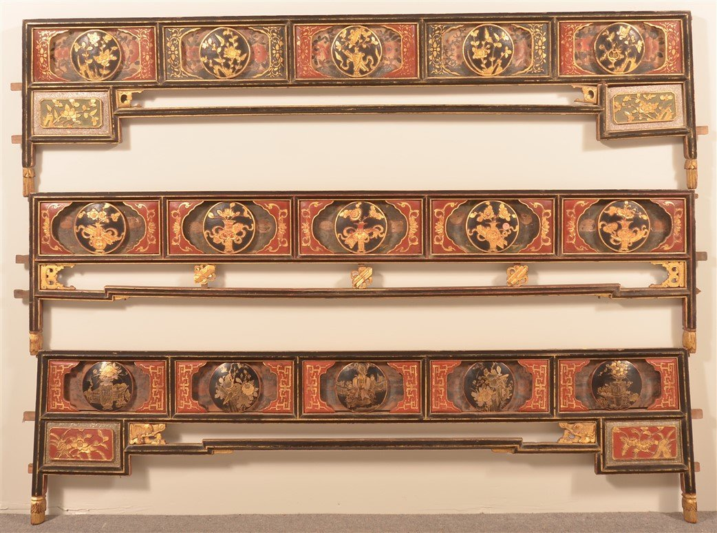 Three Antique Chinese Lacquered Bed Testers.