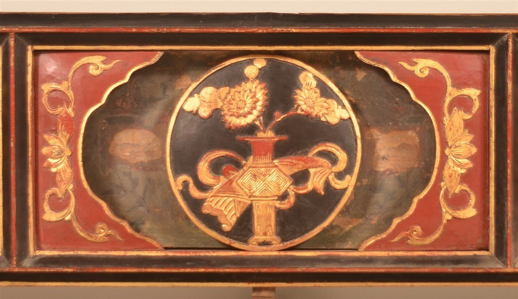 Three Antique Chinese Lacquered Bed Testers. - 3