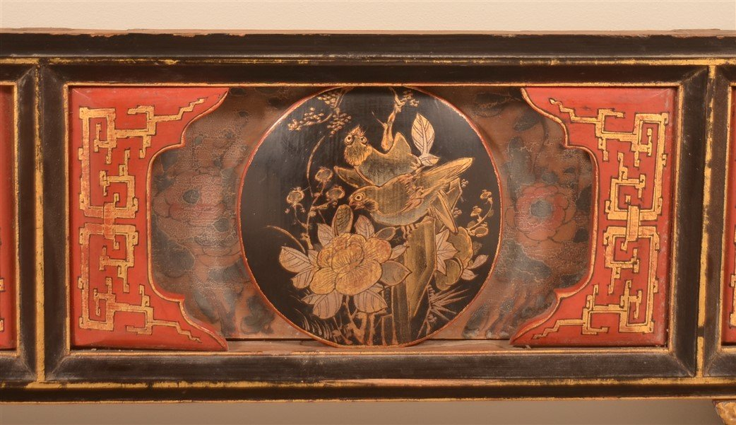 Three Antique Chinese Lacquered Bed Testers. - 5