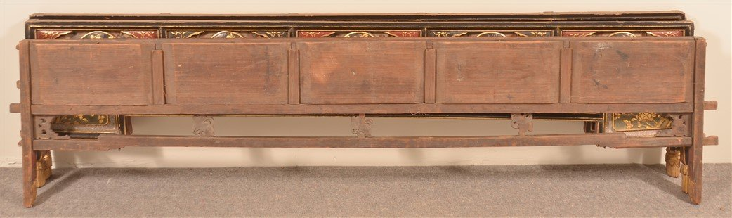 Three Antique Chinese Lacquered Bed Testers. - 6