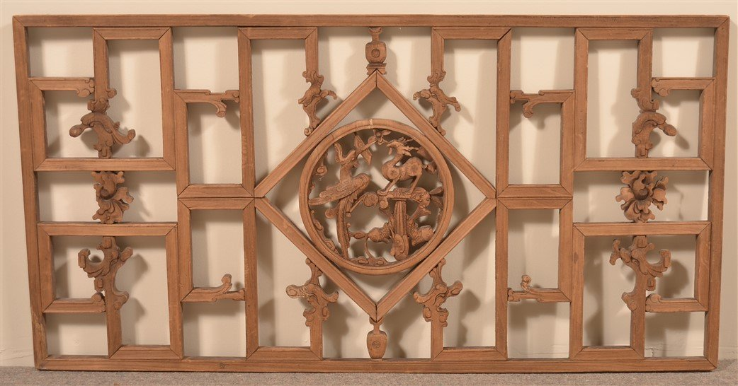 Chinese Carved Camphor Wood Window.