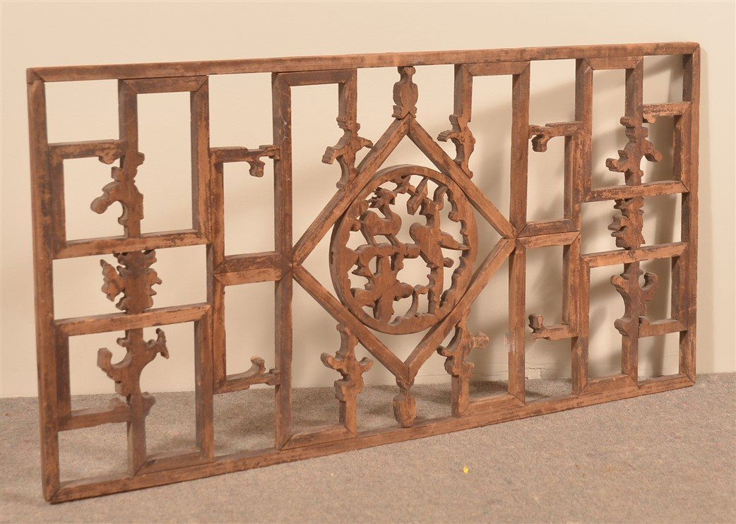 Chinese Carved Camphor Wood Window. - 3