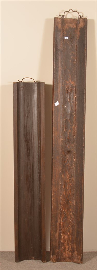 2 Antique Chinese Cypress Wood Vertical Signs. - 2