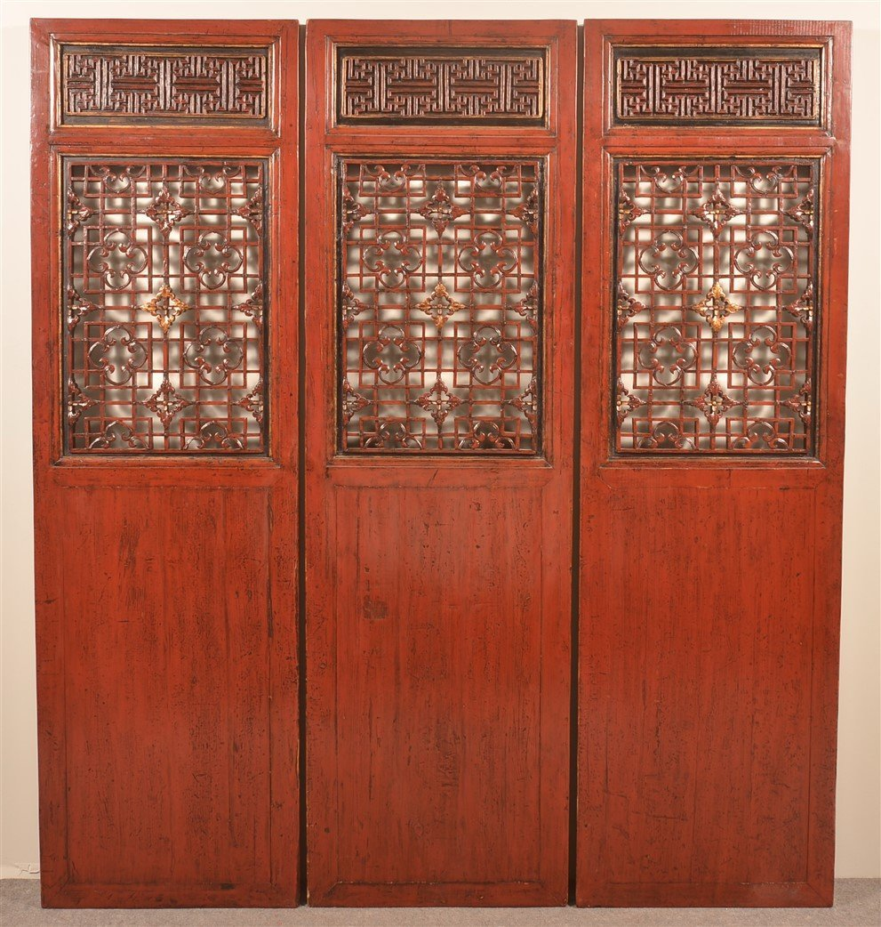 Set of Six Vintage Chinese Red Lacquered Doors.