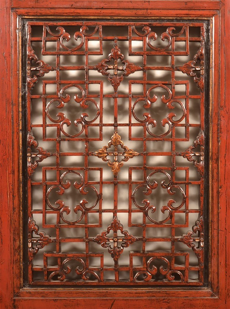 Set of Six Vintage Chinese Red Lacquered Doors. - 2