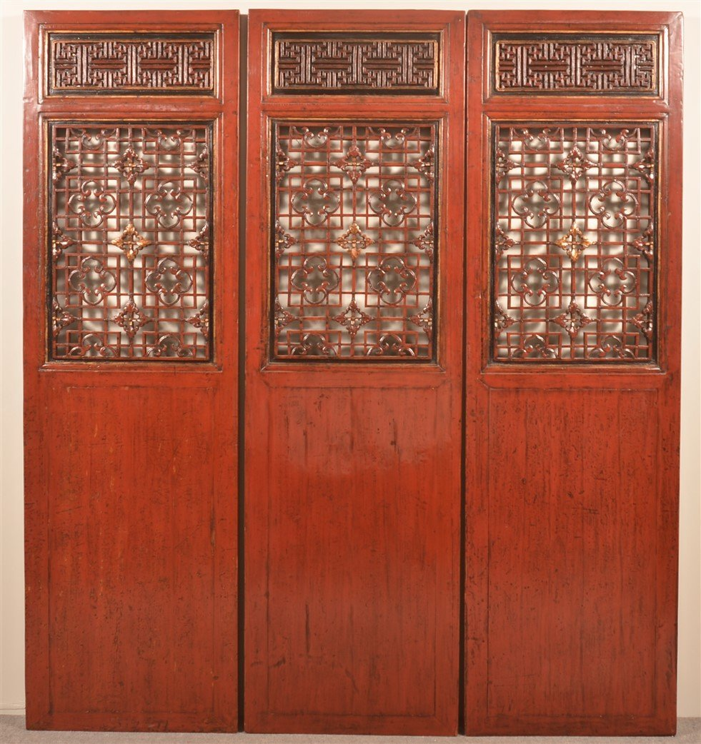 Set of Six Vintage Chinese Red Lacquered Doors. - 3