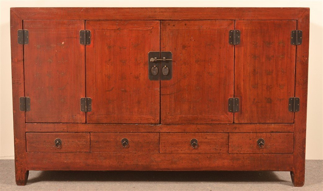 Vintage Chinese Lacquered Cypress Sideboard. - 2