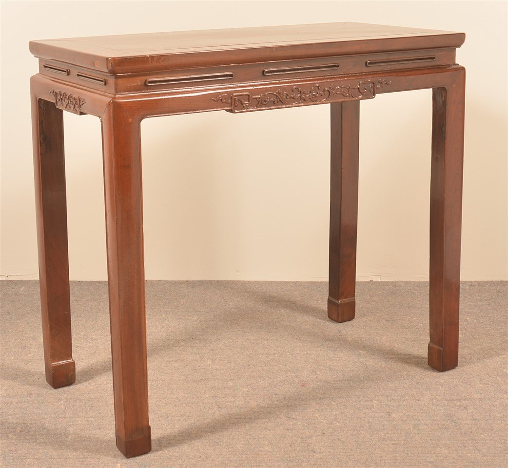 Late 19th Century Chinese Elmwood Side Table.