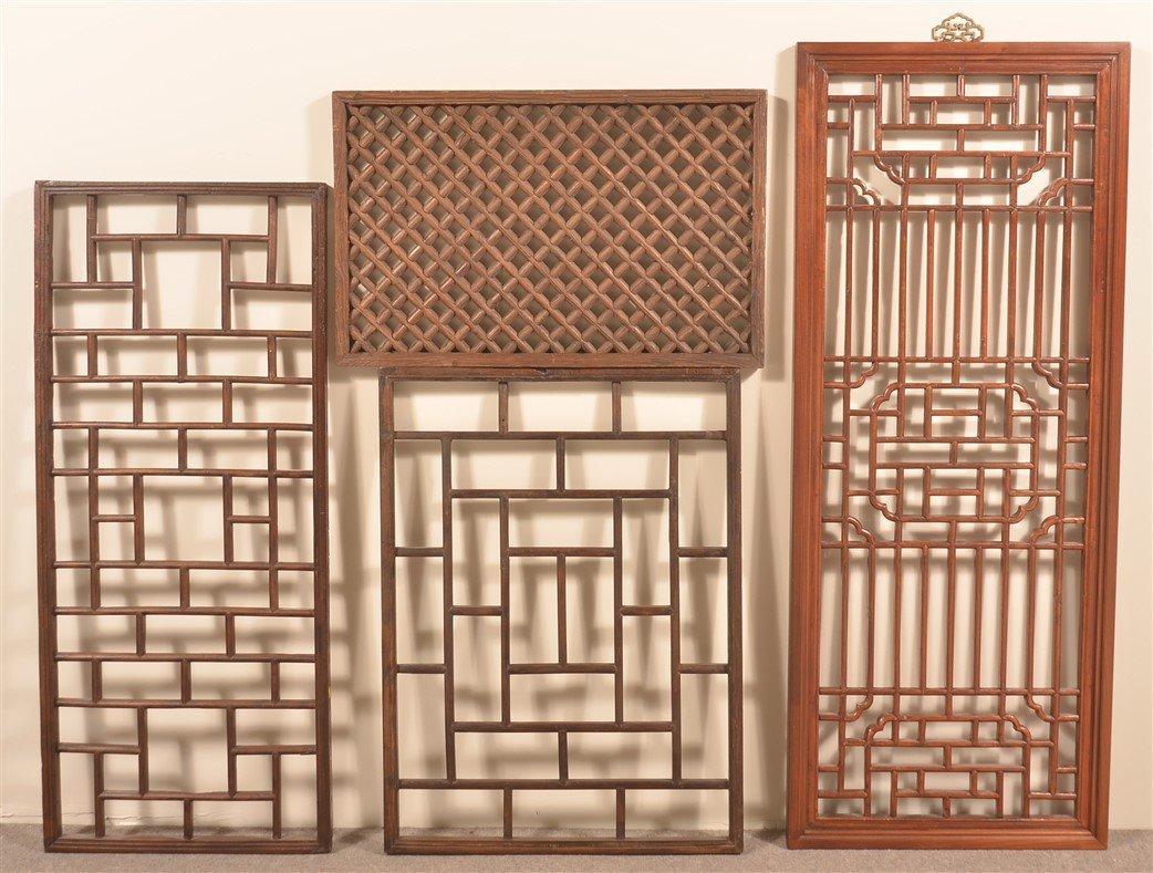 4 Antique Chinese Mixed Wood Lattice Windows.