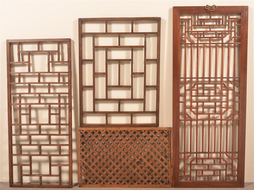 4 Antique Chinese Mixed Wood Lattice Windows. - 2