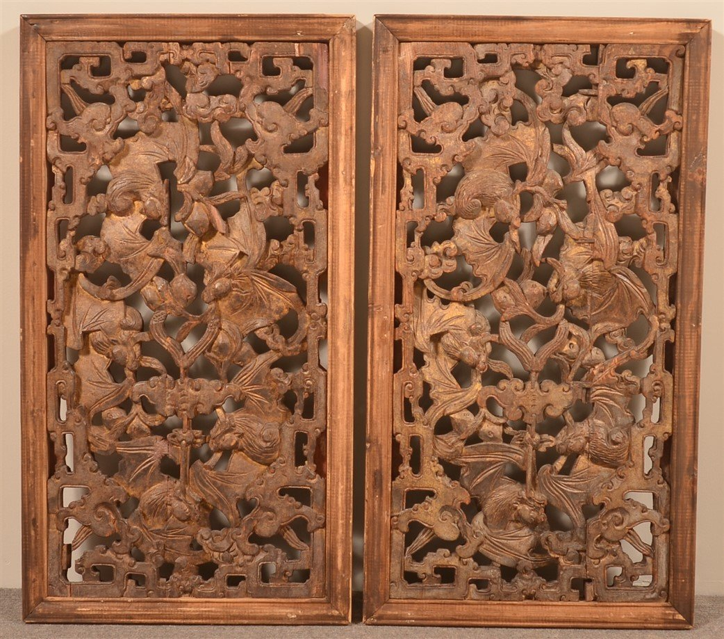 Pair of Chinese Carved and Gilt Wood Windows.