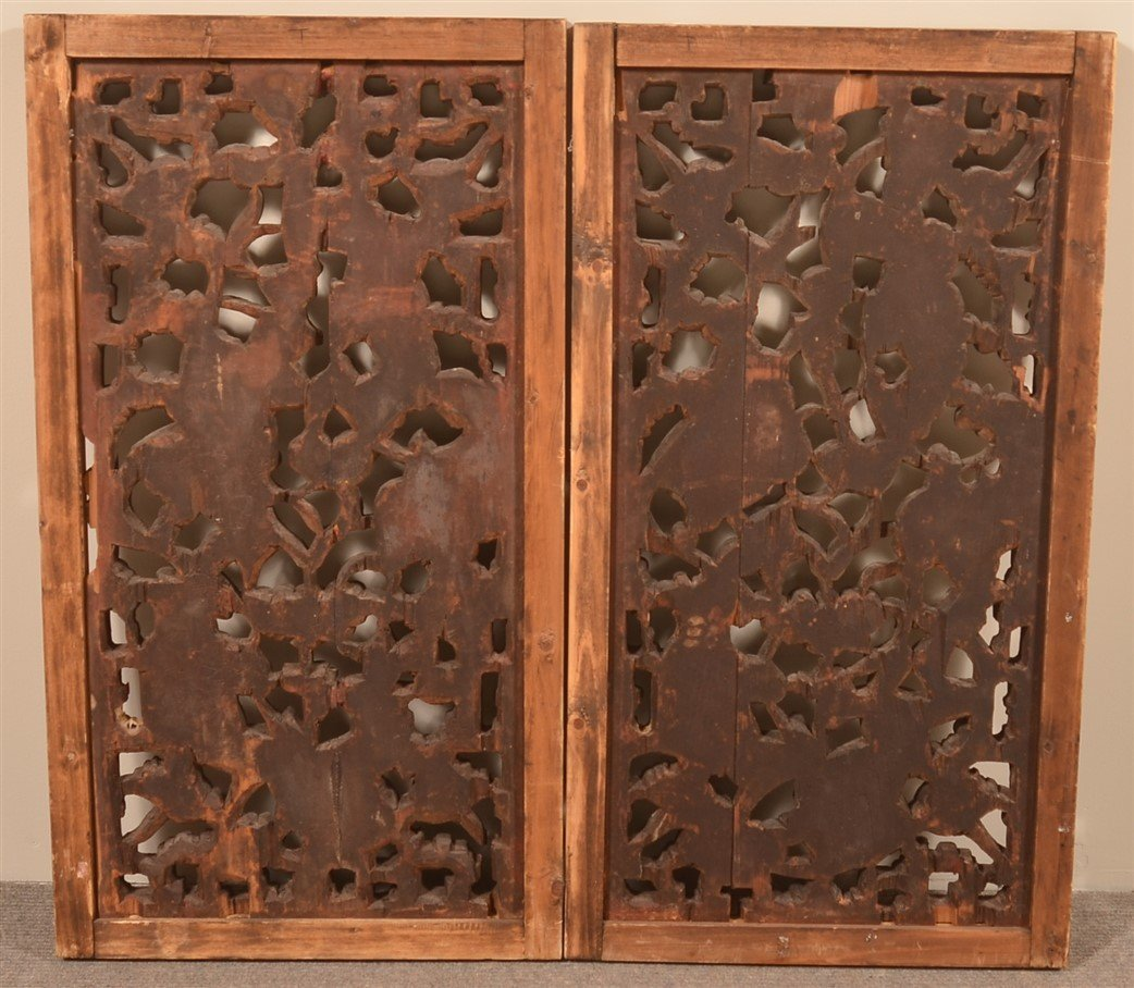 Pair of Chinese Carved and Gilt Wood Windows. - 2