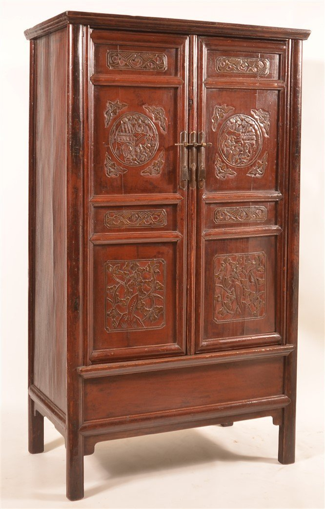 Chinese Lacquered and Carved Elmwood Cabinet.
