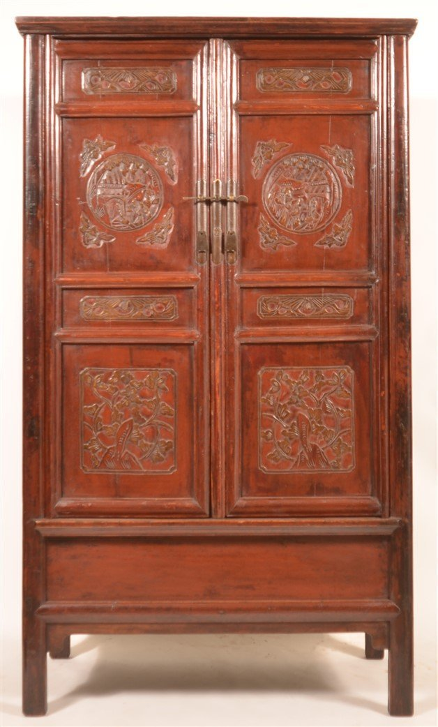 Chinese Lacquered and Carved Elmwood Cabinet. - 2