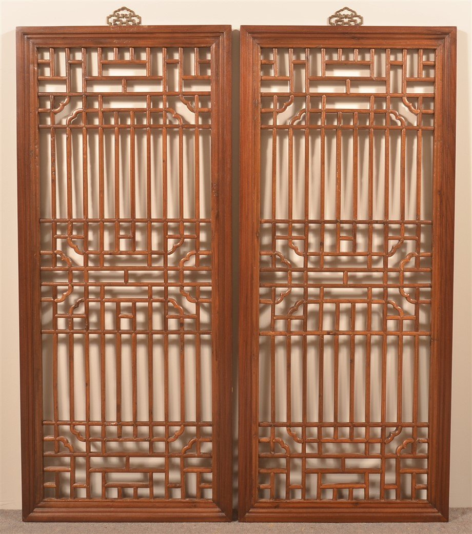 Pair of Chinese Elmwood Lattice Windows.