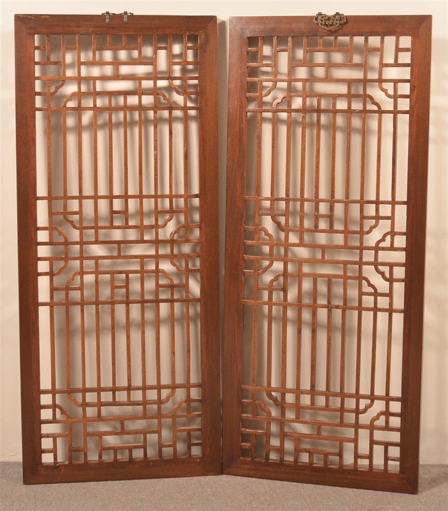 Pair of Chinese Elmwood Lattice Windows. - 2