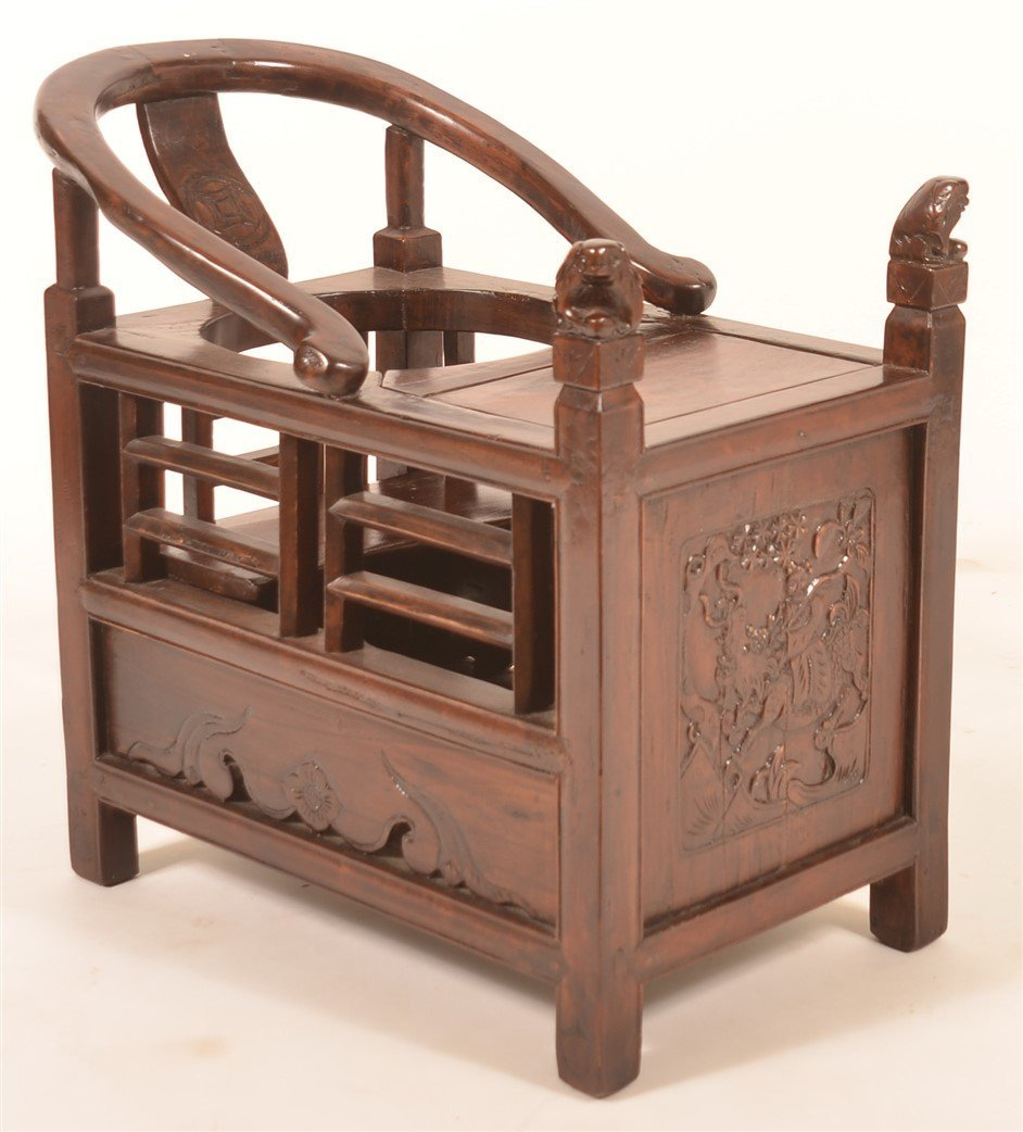 Antique Chinese Carved Wood Infants Chair.
