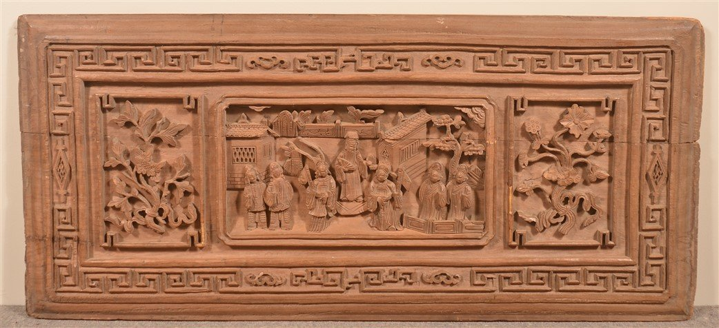 19th Cent. Chinese Carved Camphor Wood Panel.