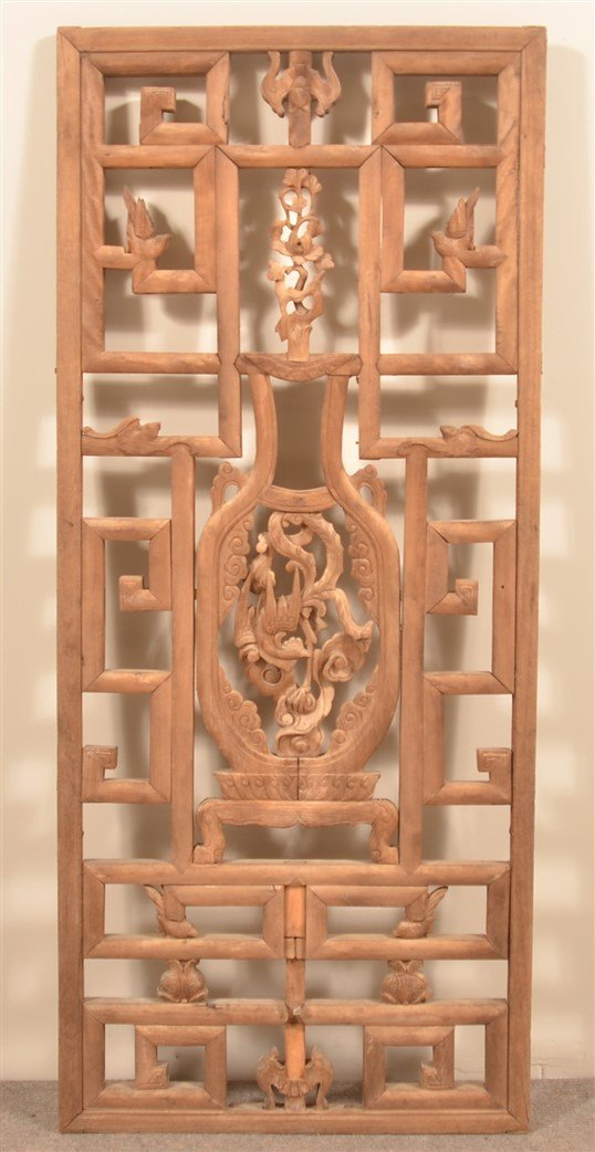 19th Cent. Chinese Carved Mixed Wood Window.