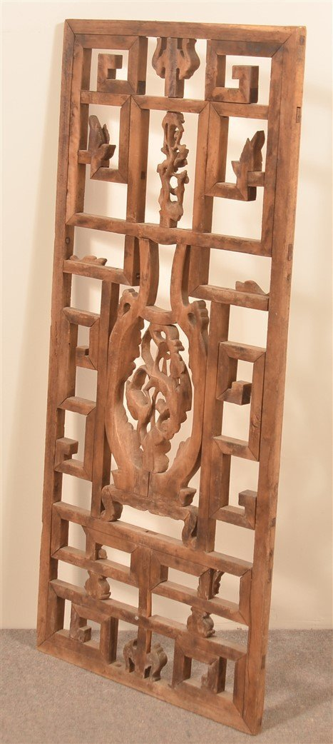 19th Cent. Chinese Carved Mixed Wood Window. - 3