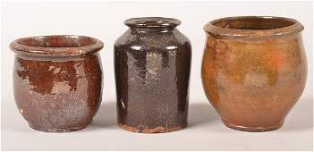 Three Pennsylvania 19th Century Redware Storage Jars