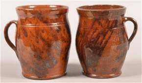 Two PA Redware Mottle Glazed Apple Butter Crocks
