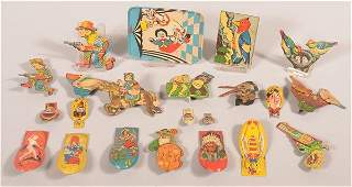 Lot of Vintage Tin Lithograph Clicker Noisemakers
