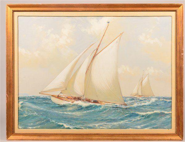 Montague Dawson Watercolor Depicting Racing Yachts.
