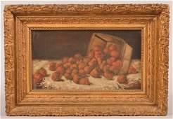 AF King Oil on Canvas Basket of Strawberries Still