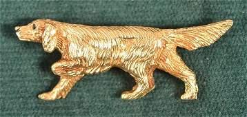 Vintage 14K Yellow Gold Pointer Dog Pin.