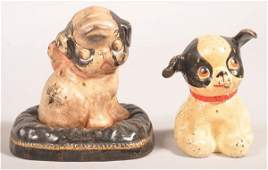 Two Cast Iron Hubley Dog Still Banks