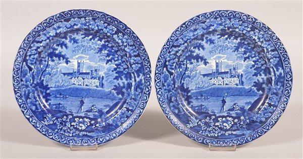 Two Staffordshire Blue Transfer Romantic View Plates.