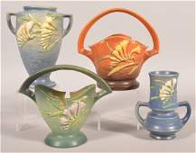 """Four Pieces Of """"Freesia"""" Roseville Art Pottery."""