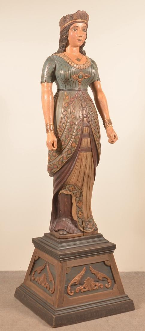 Indian Maiden Folk Art Circus Wagon Figure.