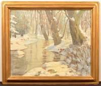 Floyd Gahman Oil on Canvas Winter Landscape