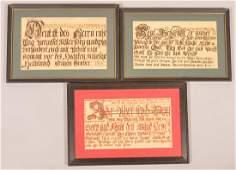Three PA German Imprint Fraktur Writings.