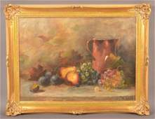 M. Lerch Oil on Canvas Still Life Painting of Fruit.