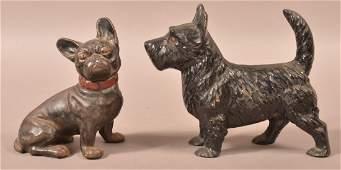 Two Hubley Cast Iron Dog Doorstops