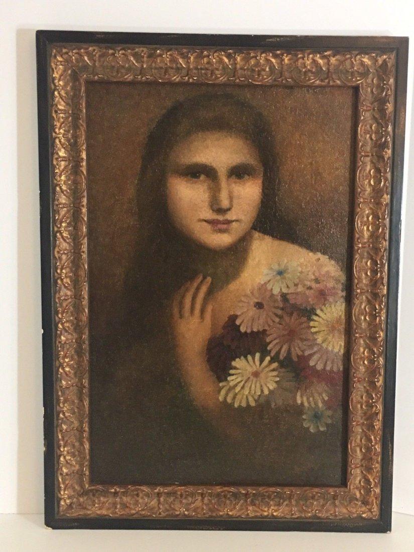 E. Kosa Painting Portrait Oil on canvas Signed.