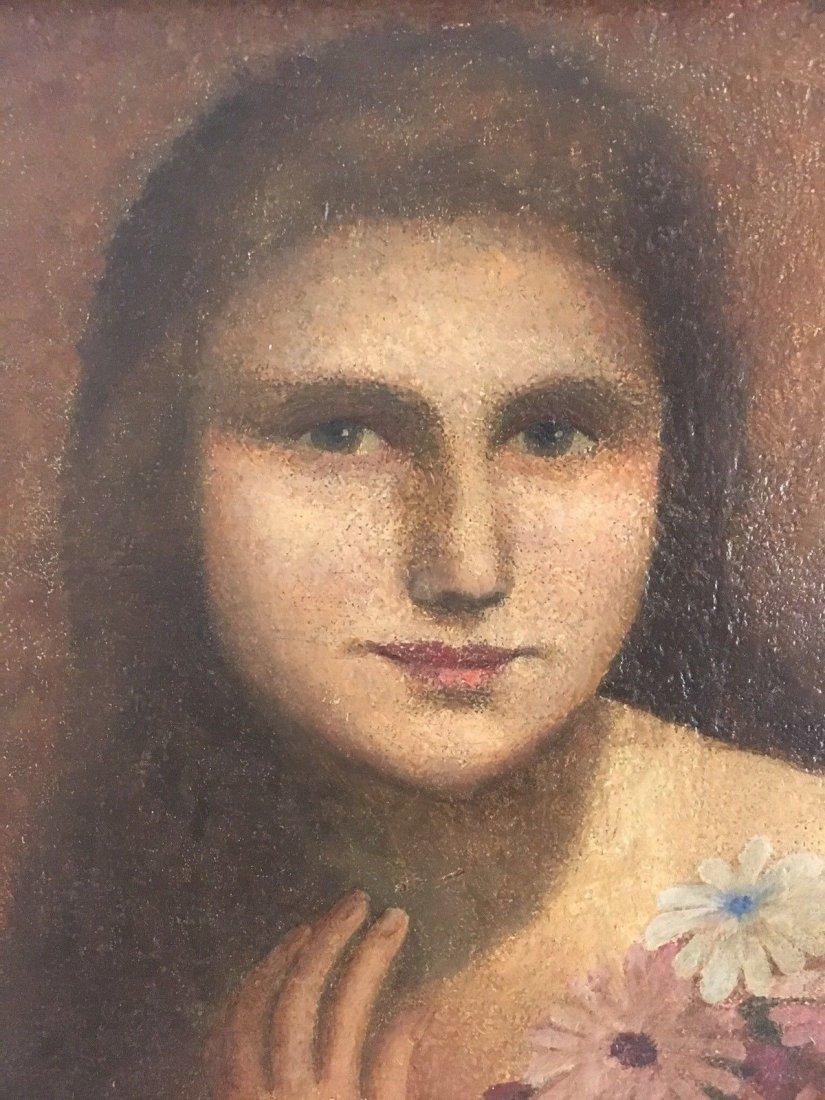E. Kosa Painting Portrait Oil on canvas Signed. - 6