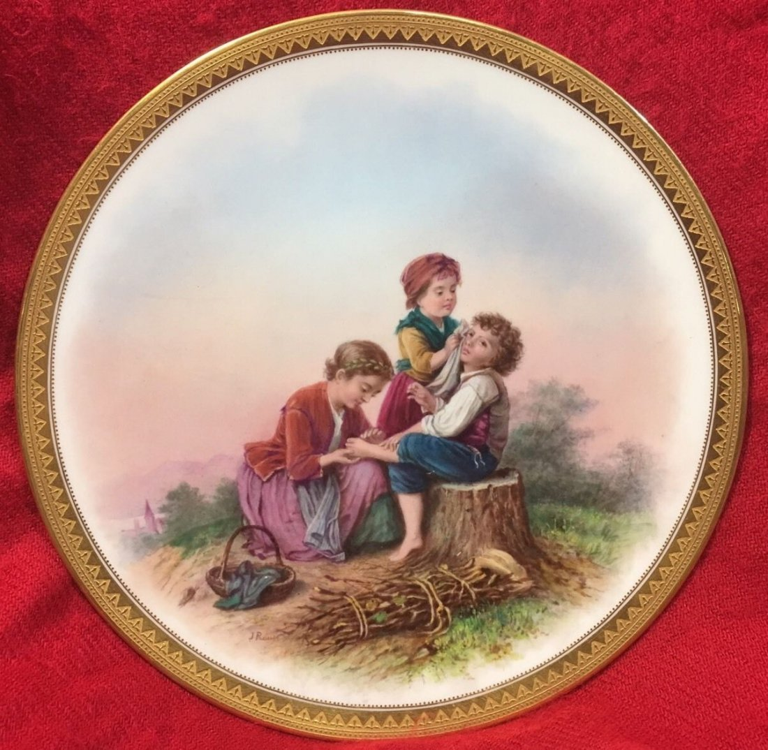 Antique Handpainted Signed French Porcelain Scene Plate