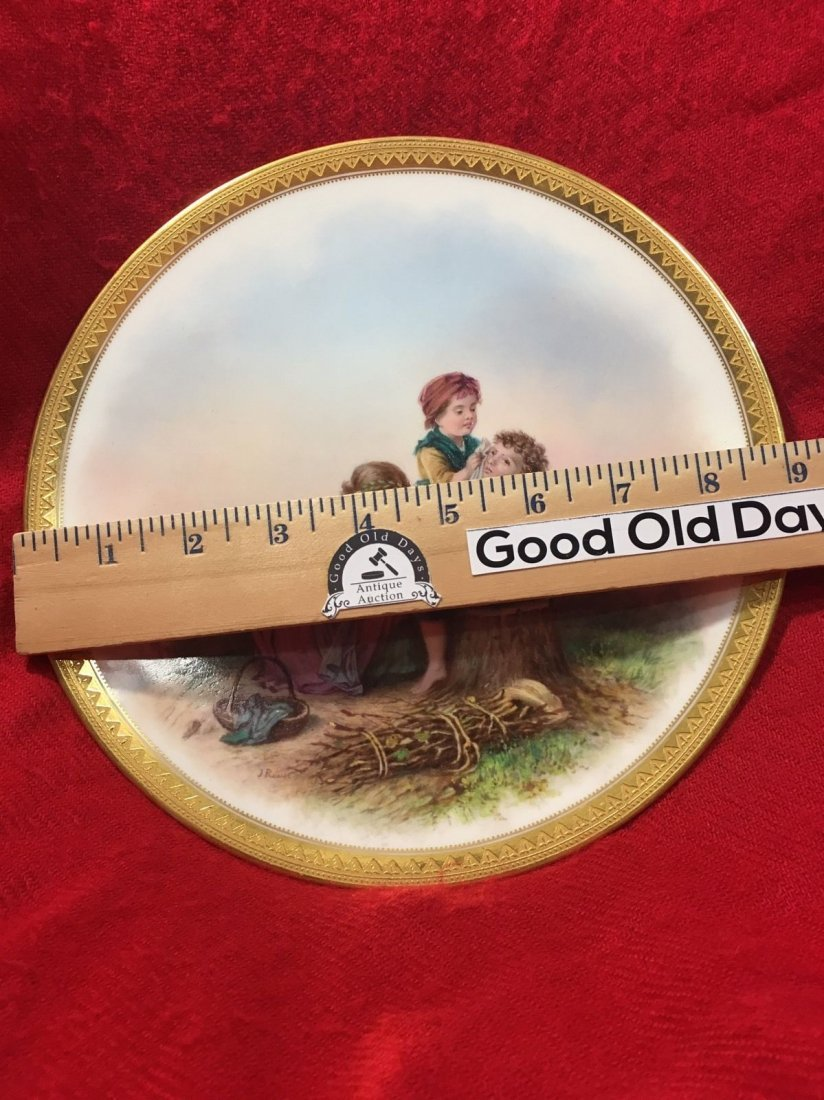 Antique Handpainted Signed French Porcelain Scene Plate - 3