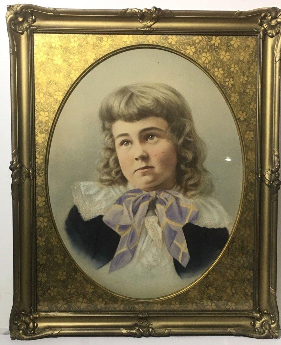 Antique French 1800's Watercolor Painting boy Portrait